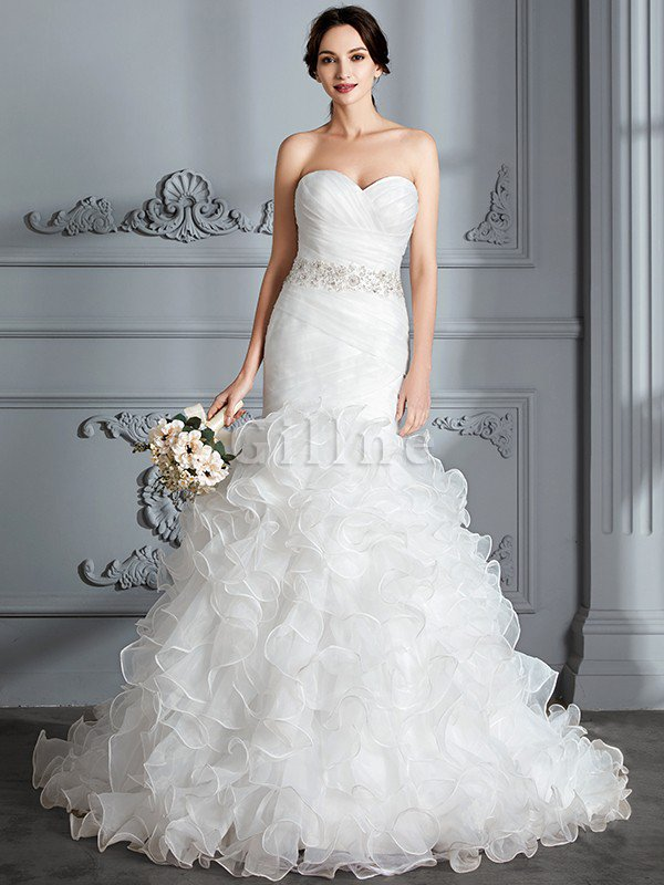 Sweetheart Ruffles Mermaid Sleeveless Sweep Train Wedding Dress