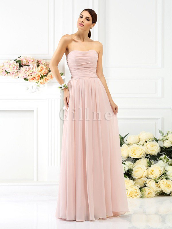 Empire Waist Chiffon Long Draped Zipper Up Bridesmaid Dress