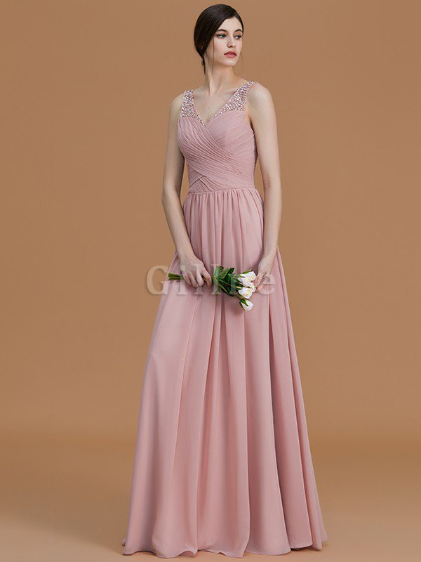 Chiffon Zipper Up A-Line Sleeveless Beading Bridesmaid Dress