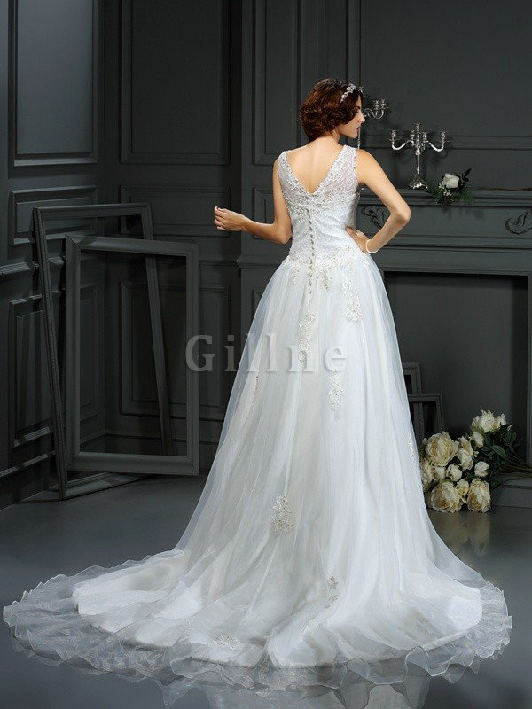 Princess Natural Waist Sleeveless Appliques Zipper Up Wedding Dress