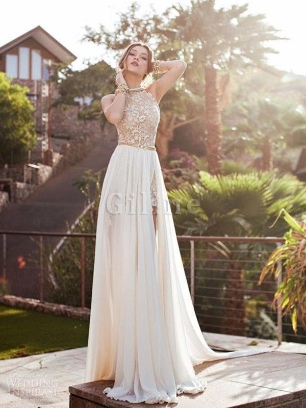 Halter A-Line Inverted Triangle Chiffon Wedding Dress