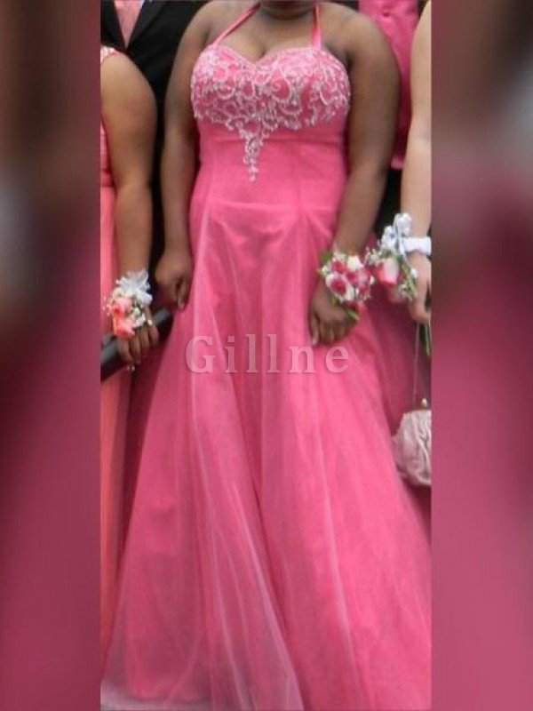 Beading Tulle Floor Length Plus Size A-Line Prom Dress