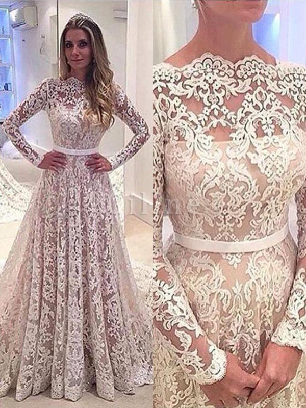 A-Line Bateau Long Sleeves Lace Court Train Wedding Dress