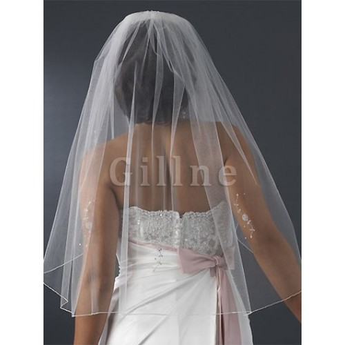 With Application Short Wedding Veil