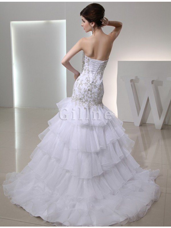 Lace-up Sweetheart Empire Waist Mermaid Sleeveless Wedding Dress