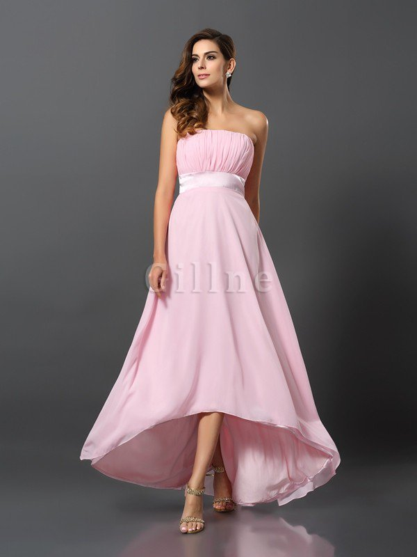 A-Line Sleeveless Strapless Zipper Up Chiffon Bridesmaid Dress