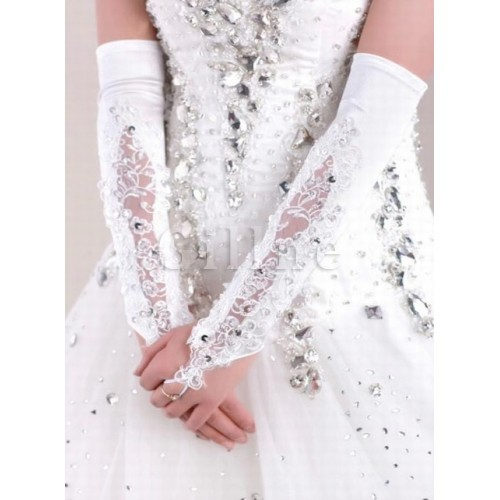 Satin Sequin White Modest Bridal Gloves