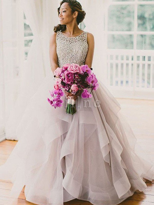 Ball Gown Sweep Train Organza Scoop Beading Wedding Dress