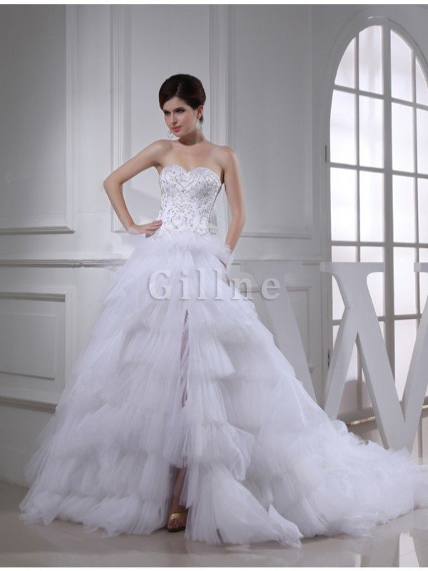 Chapel Train Embroidery Beading Satin Sleeveless Wedding Dress