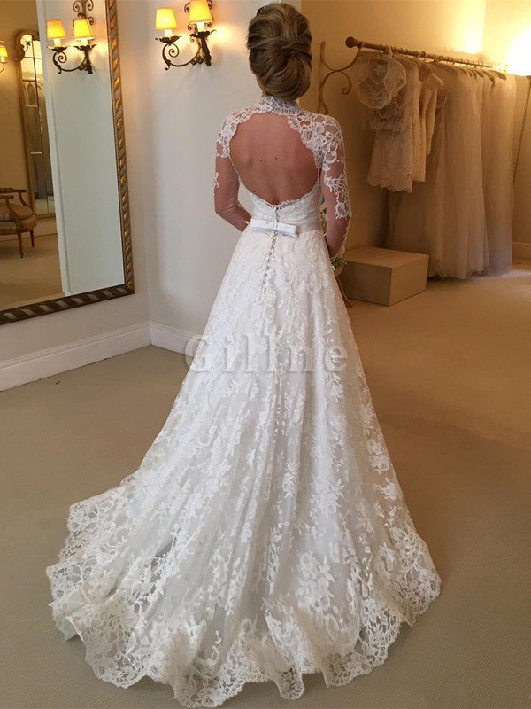 High Neck Long Sleeves Ball Gown Court Train Lace Wedding Dress