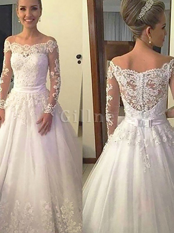 Ball Gown Tulle Court Train Natural Waist Long Sleeves Wedding Dress