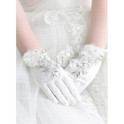 Satin With Crystal White Chic | Modern Bridal Gloves