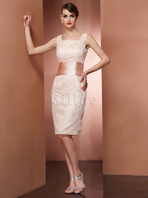 Natural Waist Short Elastic Woven Satin Sheath Square Mother Of The Bride Dress
