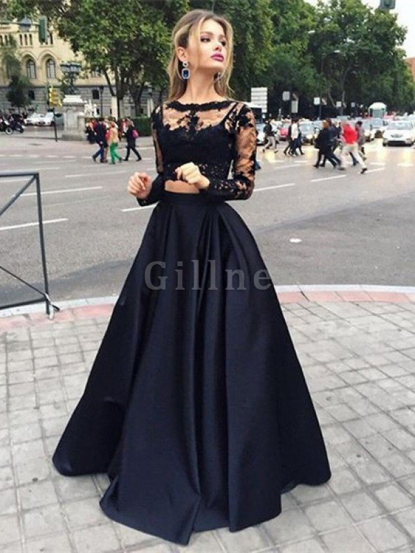 Satin Bateau Beading Natural Waist Ball Gown Evening Dress
