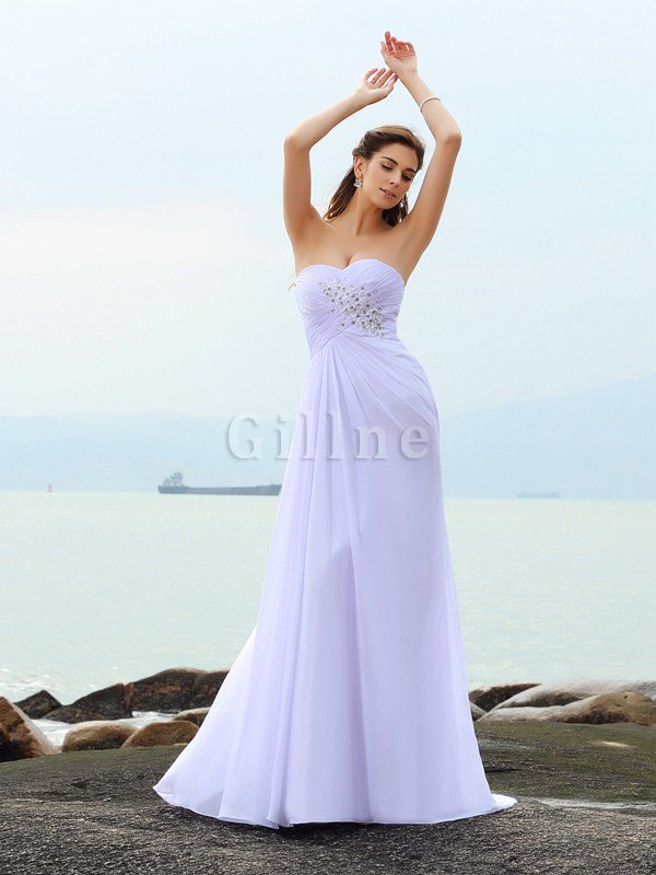 Chapel Train Beach Sweetheart Sheath Sleeveless Wedding Dress
