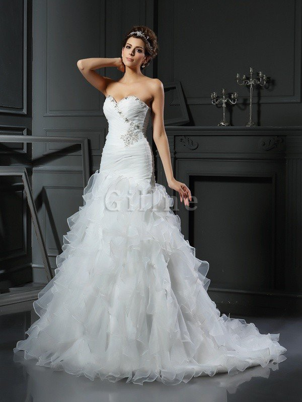 Mermaid Lace-up Sleeveless Sweetheart Natural Waist Wedding Dress