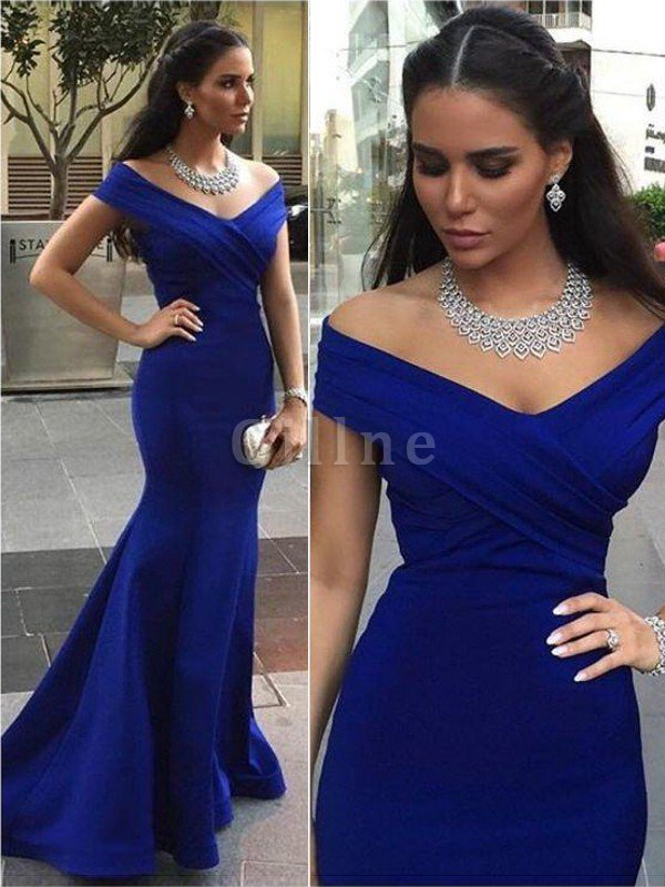 Sweep Train Satin Mermaid Sleeveless Off The Shoulder Evening Dress