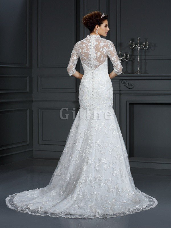 Sleeveless Court Train Mermaid Long Lace Wedding Dress