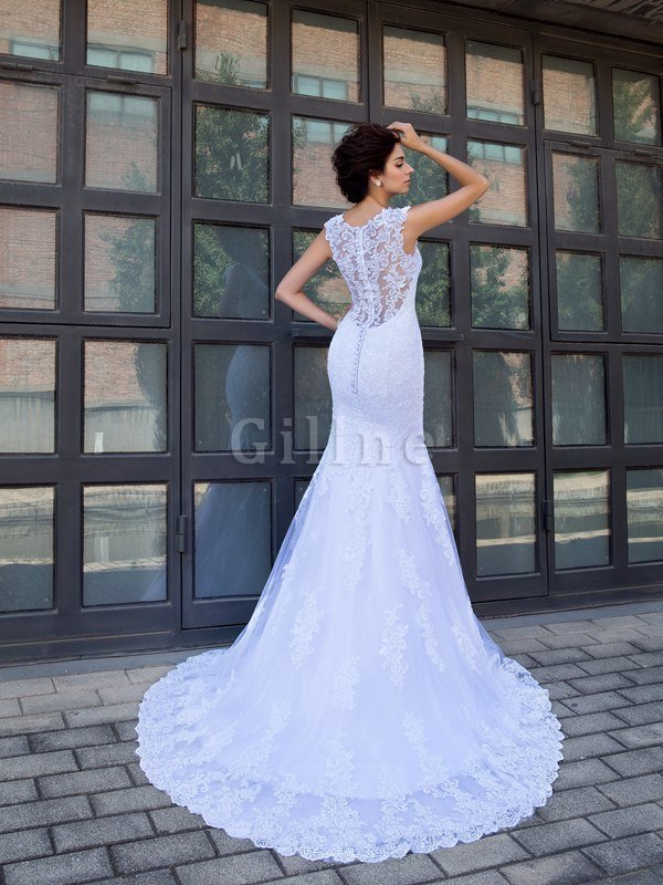Long Mermaid Natural Waist Satin Sleeveless Wedding Dress