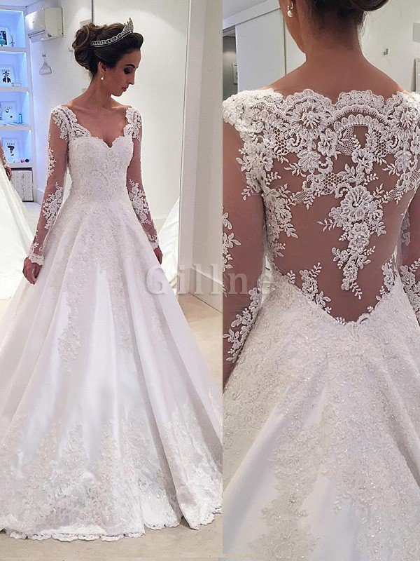 Long Sleeves Lace Ball Gown Satin Natural Waist Wedding Dress
