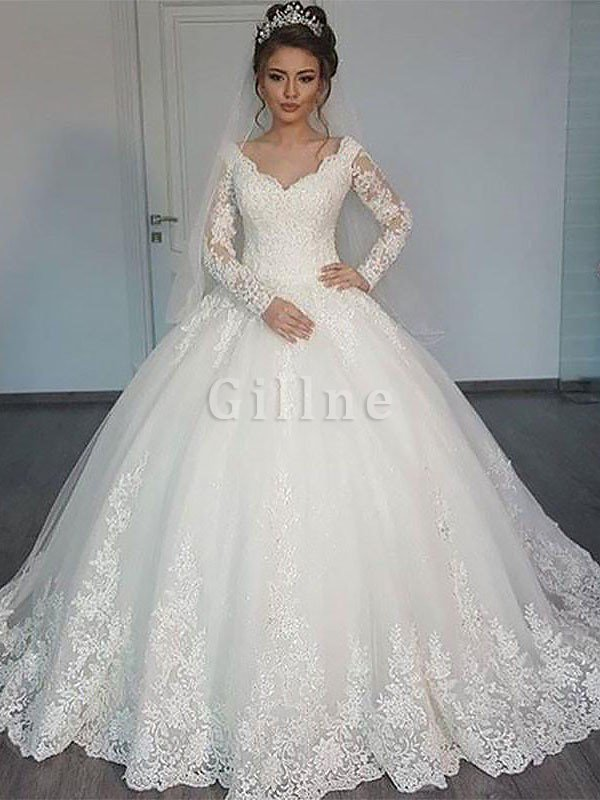 V-Neck Natural Waist Court Train Ball Gown Long Sleeves Wedding Dress