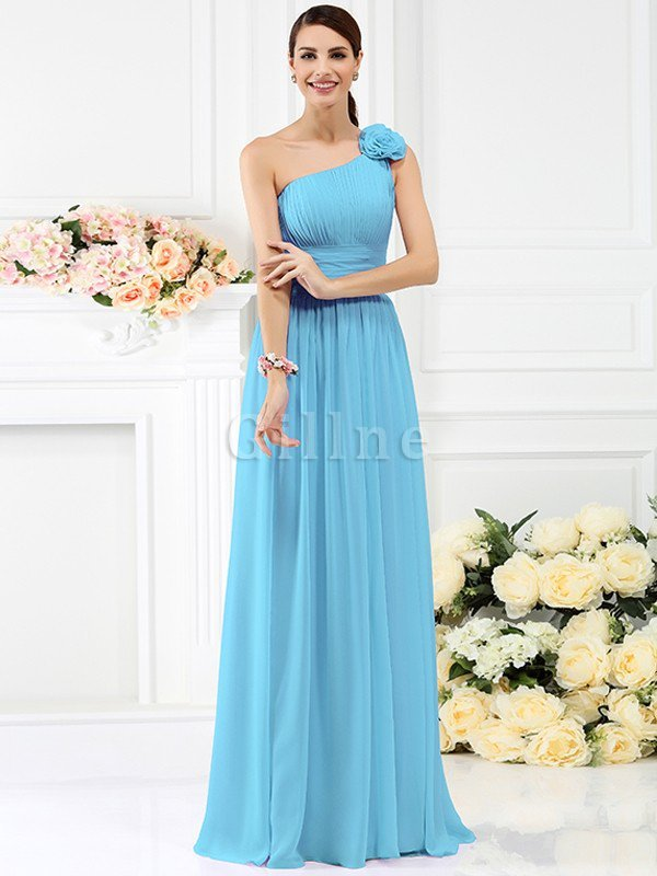 Zipper Up Sleeveless Floor Length Draped Flowers Bridesmaid Dress