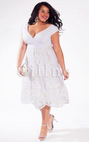 Informal Casual Plus Size Simple Tea Length Empire Wedding Dress Gillne Com