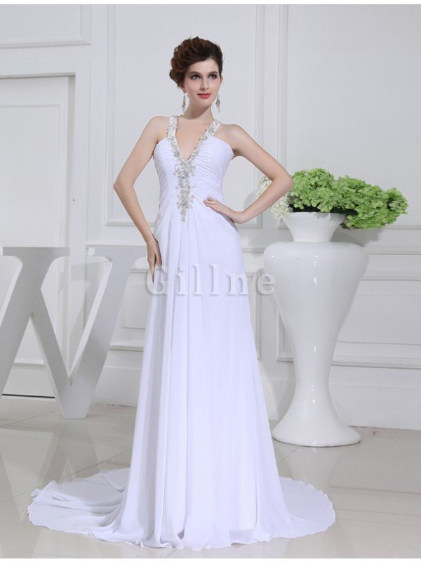 Sleeveless Court Train A-Line Chiffon Wedding Dress
