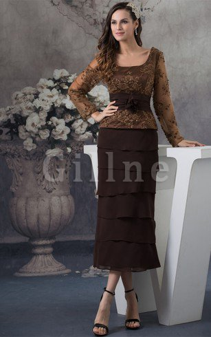Sashes Long Sleeves Ankle Length Square Evening Dress