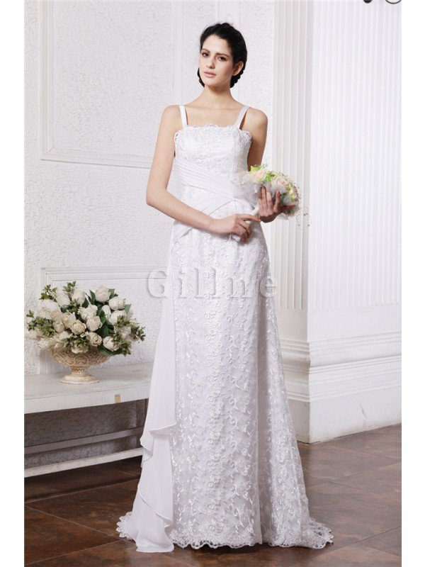 Ruffles Sleeveless Square Ruched Zipper Up Wedding Dress