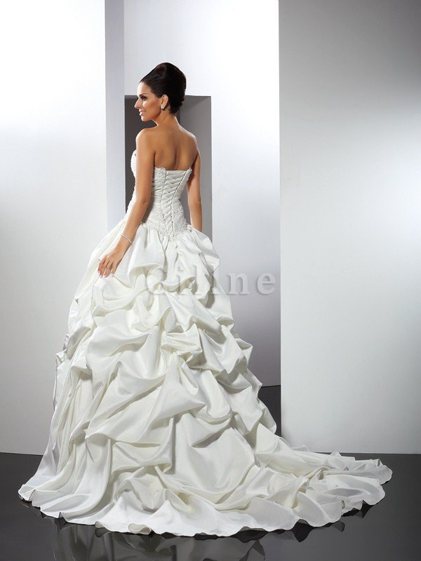 Long Lace-up Cathedral Train Satin Ball Gown Wedding Dress