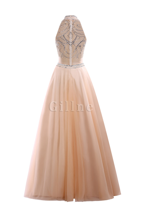 Formal Elastic Woven Satin Sequined A-Line Evening Dress