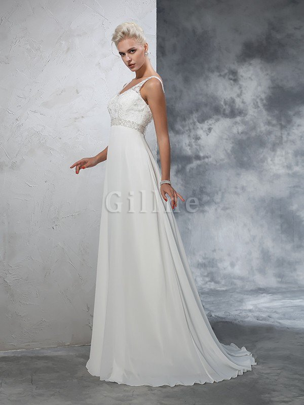 Beading V-Neck A-Line Long Empire Waist Wedding Dress