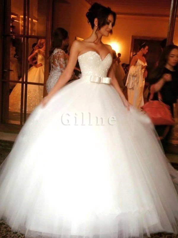 Sweetheart Accented Bow Floor Length Natural Waist Ball Gown Wedding Dress