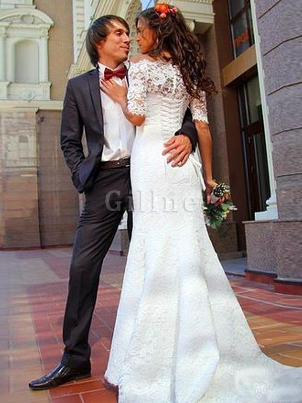 Sleeveless Off The Shoulder Sweep Train Lace Natural Waist Wedding Dress