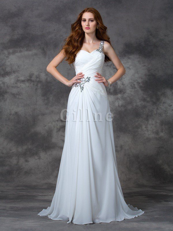 Sweep Train Sleeveless Princess Chiffon Natural Waist Wedding Dress