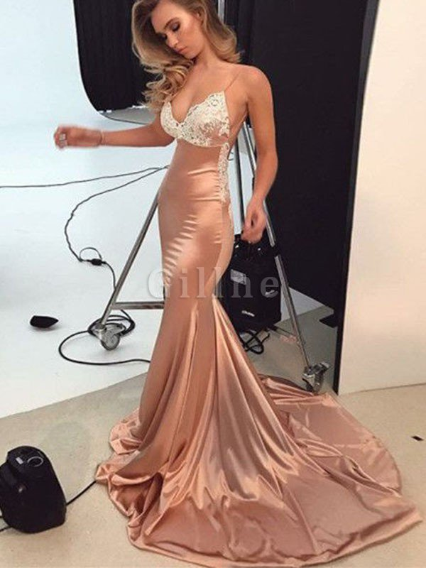 Wide Straps Natural Waist Sweep Train Absorbing Satin Mermaid Sleeveless Prom Dress