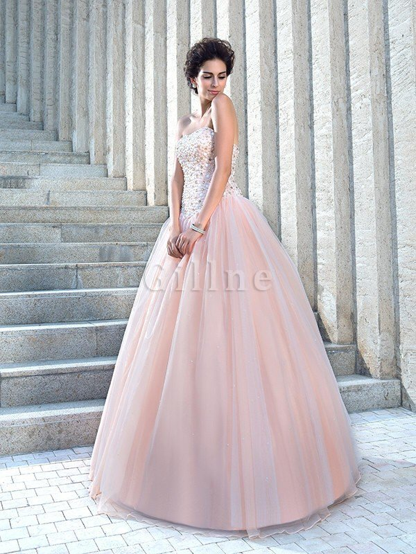 Empire Waist Floor Length Satin Sleeveless Beading Wedding Dress