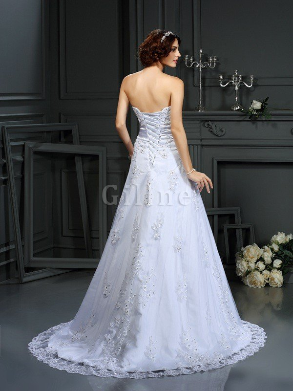 Satin Lace-up Natural Waist Sleeveless Long Wedding Dress