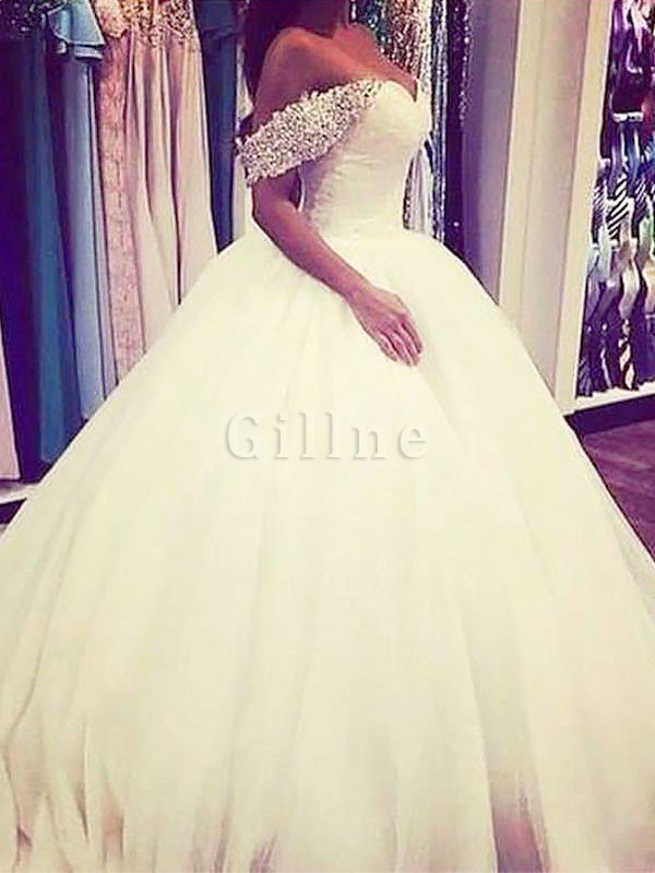 Natural Waist Tulle Off The Shoulder Ball Gown Beading Wedding Dress