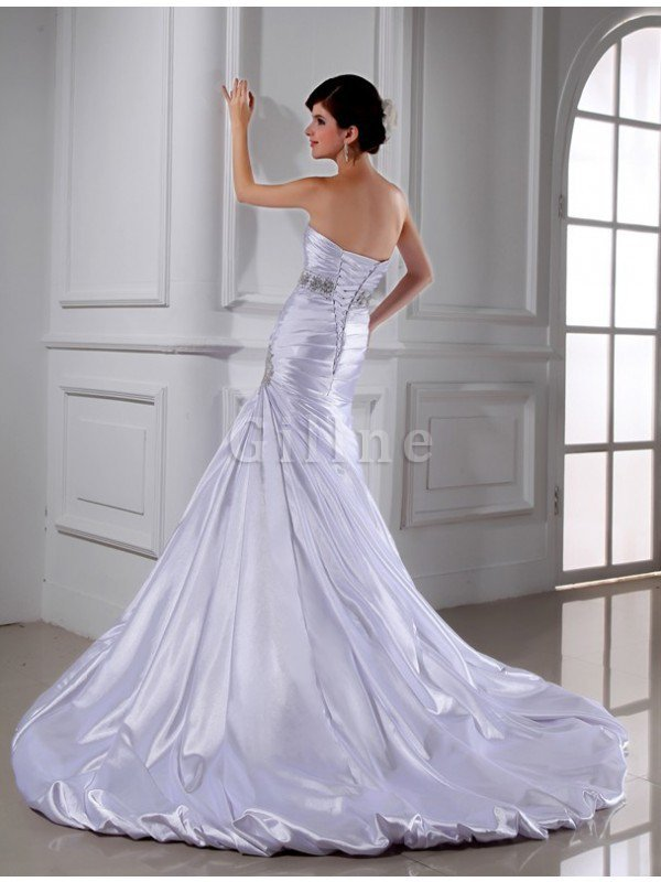 Sleeveless Empire Waist Mermaid Elastic Woven Satin Strapless Wedding Dress