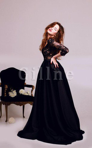 A-Line Lace Fabric Sleeveless Sashes Sweep Train Evening Dress