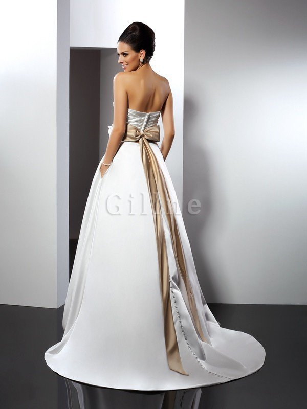 Flowers A-Line Empire Waist Court Train Wedding Dress