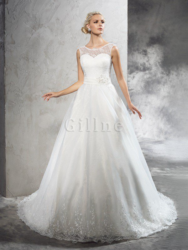 Ball Gown Long Court Train Natural Waist Wedding Dress