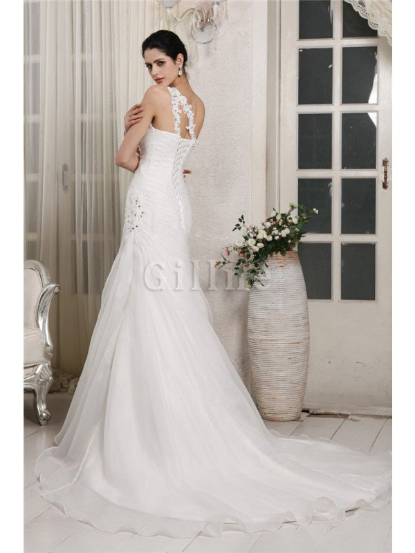 One Shoulder Chapel Train Lace-up Long Organza Wedding Dress