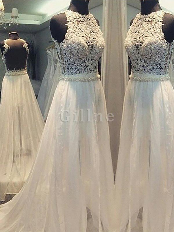 Princess Sleeveless Scoop Chiffon Sweep Train Wedding Dress