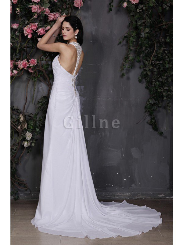 Beading Halter Sheath Long Chiffon Wedding Dress