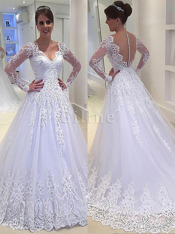 Long Sleeves V-Neck Appliques A-Line Wedding Dress