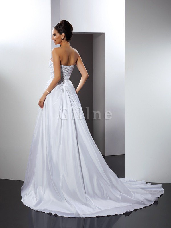 Long Ruffles Sleeveless A-Line Cathedral Train Wedding Dress
