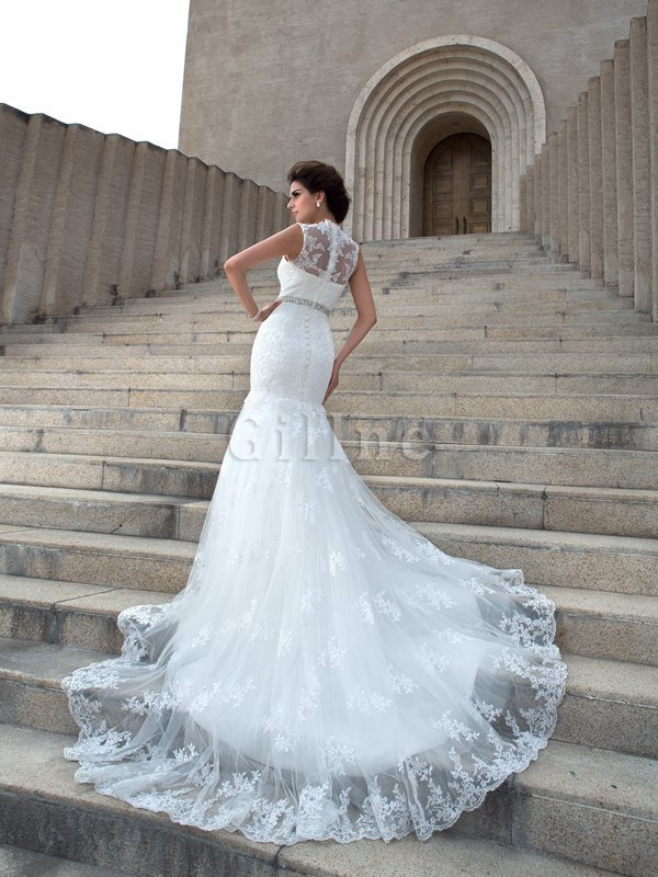 V-Neck Mermaid Sleeveless Chapel Train Appliques Wedding Dress